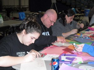 Stockton College Students Making Crafts