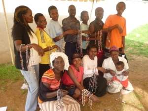 "The group of ""beaders"" at Kawempe Home Care"