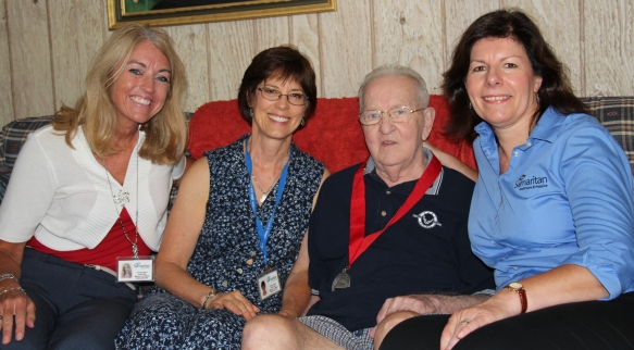 Armando with his hospice team. From left: Social Worker Colleen Fritsche, Chaplain Anne Butts and Nurse Angela DeNight