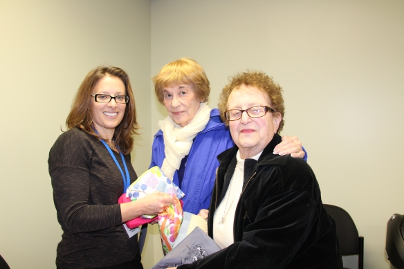 Samaritan Spiritual Support Counselor Rabbi Geri Newburge (left) accepts gifts of personal care items from National Council of Jewish Women volunteers Florence Engel (middle) and Shirley Srolovitz. The shampoo, soap, and toothpaste will benefit Samaritan's Jewish Hospice Program patients and families.