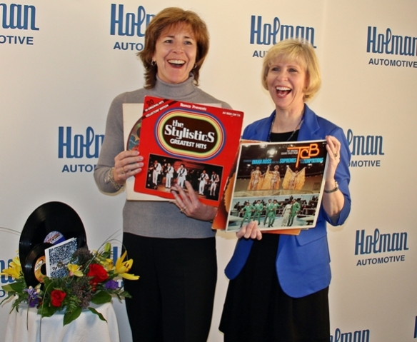 (from left) Mindy Holman, President & CEO of Holman Enterprises, Inc. and Mary Ann Boccolini, President & CEO of Samaritan Healthcare & Hospice, share a nostalgic laugh about their favorite Motown hits. This year, Samaritan will present the Circle of Excellence award to Holman for her professional and personal dedication to Samaritan and the community during The Motown Gala on February 21 at the Crowne Plaza in Cherry Hill.